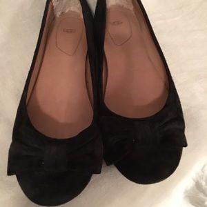 UGG black leather ballet shoes size 8